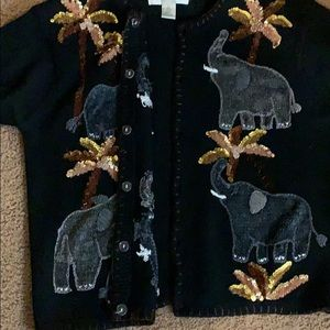 Victoria Harbour Sweaters - Victoria Harbour Elephant Sequin Cardigan Sweater